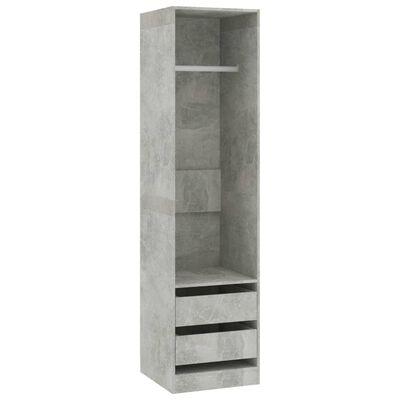 vidaXL Garderob med lådor betonggrå 50x50x200 cm spånskiva