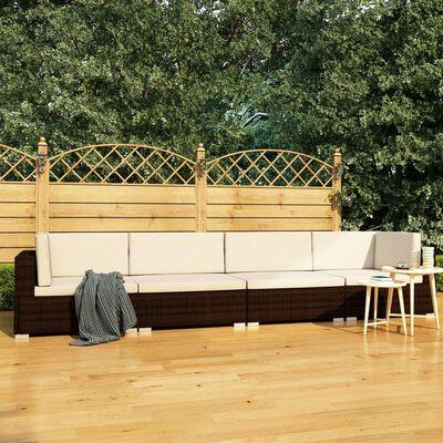 vidaXL Soffgrupp för trädgården med dynor 4 delar konstrotting brun
