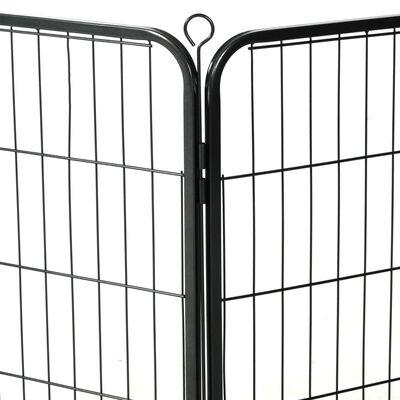 vidaXL Hundhage 12 paneler stål 80x60 cm svart