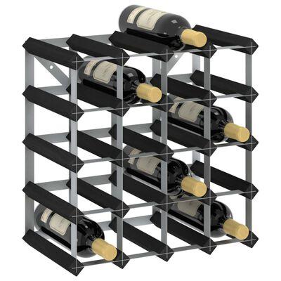 vidaXL Vinställ för 20 flaskor svart massiv furu