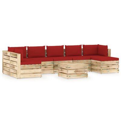vidaXL Loungegrupp med dynor 8 delar tryckimpregnerat trä