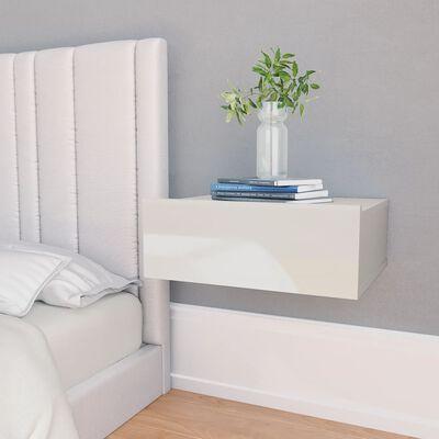 vidaXL Svävande sängbord 2 st vit högglans 40x30x15 cm spånskiva