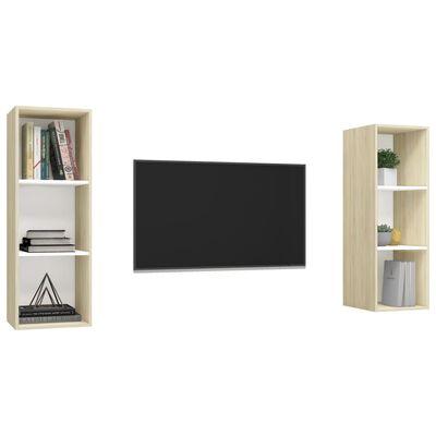 vidaXL Väggmonterade tv-skåp 2 st vit och sonoma-ek spånskiva