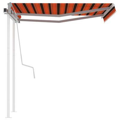 vidaXL Markis med stolpar automatiskt infällbar 3x2,5 m orange/brun
