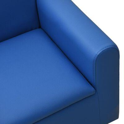 vidaXL Barnsoffa 2-sits blå konstläder
