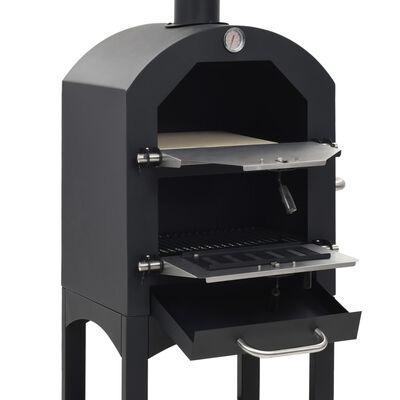 vidaXL Pizzaugn koleldad med tegelplattor & pizzasten