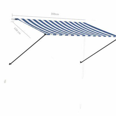 vidaXL Markis med LED 300x150 cm blå och vit