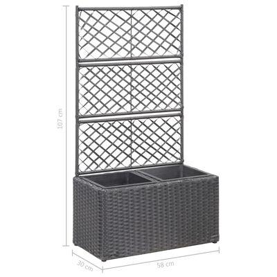 vidaXL Spaljé med 2 krukor upphöjd 58x30x107 cm konstrotting svart