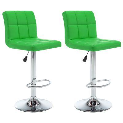 vidaXL Barstolar 2 st grön konstläder