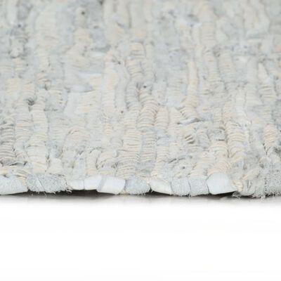 vidaXL Handvävd matta Chindi läder 160x230 cm ljusgrå
