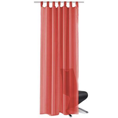 vidaXL Gardiner i voile 2 st 140x225 cm röd