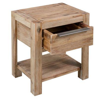 vidaXL Sängbord med låda 40x30x48 cm massivt akaciaträ
