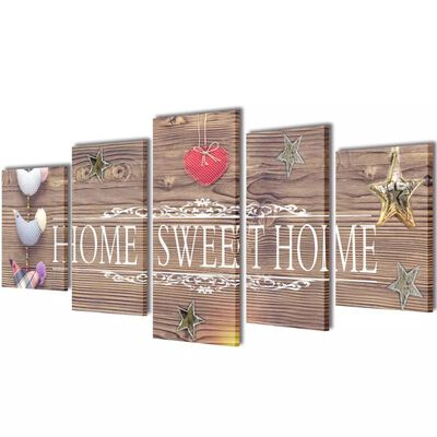 vidaXL Canvastavlor set om 5 Home Sweet Home 100 x 50 cm