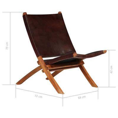 vidaXL Avkopplingsstol brun äkta läder