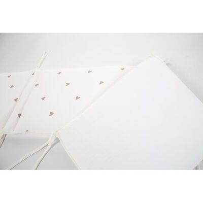CHILDHOME Sängskydd 35x170 cm jersey och muslin med hjärtmotiv