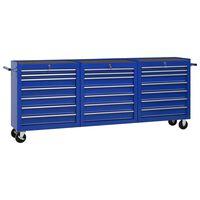 vidaXL Verktygsvagn med 21 lådor stål blå