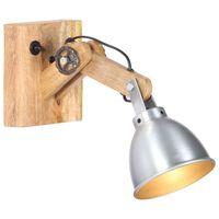 vidaXL Vägglampa E27 silver massivt mangoträ och järn