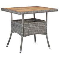 vidaXL Matbord för trädgård grå konstrotting och massiv akacia