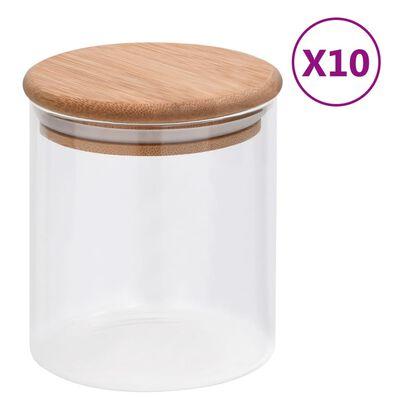 vidaXL Förvaringsburkar i glas med bambulock 10 st 600 ml
