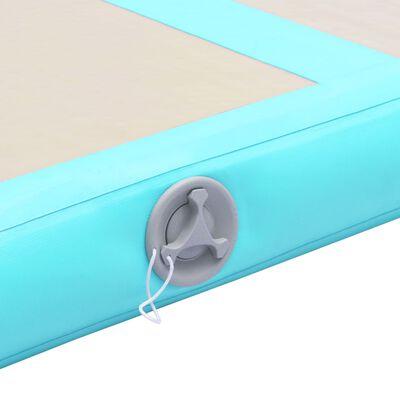 vidaXL Uppblåsbar gymnastikmatta med pump 300x100x10 cm PVC grön