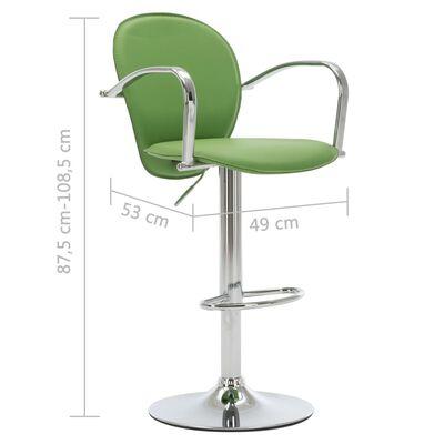vidaXL Barstol med armstöd grön konstläder