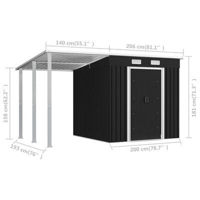 vidaXL Trädgårdsbod med förlängt tak antracit 346x193x181 cm stål
