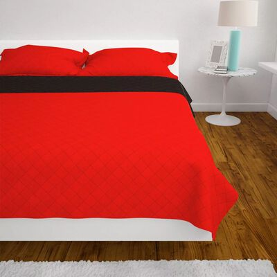 vidaXL Dubbelsidigt quiltat överkast röd och svart 170x210 cm