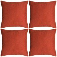 vidaXL Kuddöverdrag 4 st linne-design 50x50 cm terrakotta