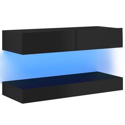vidaXL TV-bänk med LED-belysning svart högglans 90x35 cm