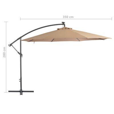 vidaXL Frihängande parasoll med aluminiumstång 350 cm taupe