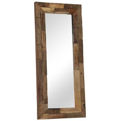 vidaXL Spegel massivt återvunnet trä 50x110 cm