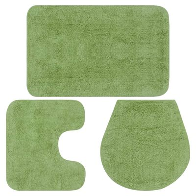 vidaXL Badrumsmattor 3 st tyg grön, Grön