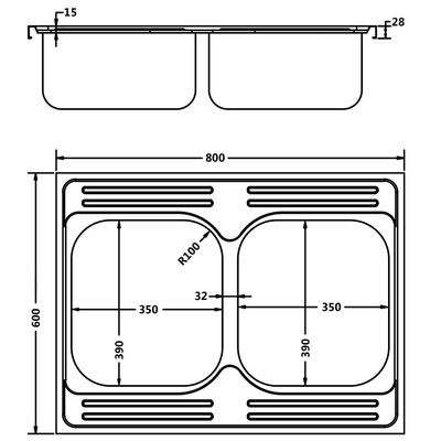 vidaXL Dubbla diskhoar silver 800x600x155 mm rostfritt stål