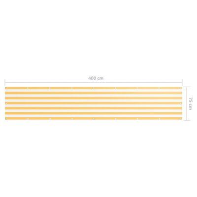 vidaXL Balkongskärm vit och gul 75x400 cm oxfordtyg