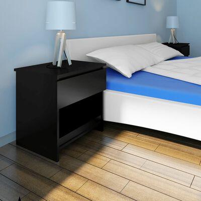 vidaXL Sängbord med en låda 2 st svart