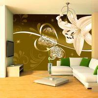 Fototapet - Lily In Shades Of Green - 300x210 Cm