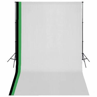 vidaXL Studiokit med 3 bakgrunder bomull och justerbart stativ 3x5 m