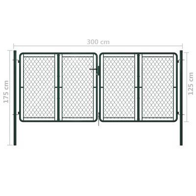 vidaXL Trädgårdsgrind stål 300x125 cm grön