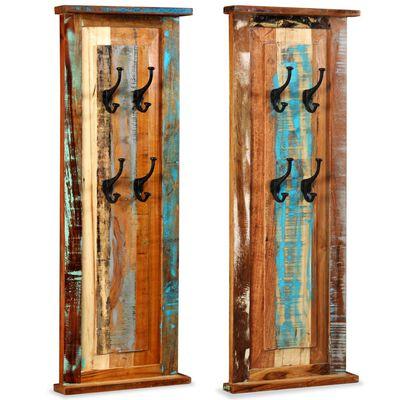 vidaXL Klädhängare 2 st återvunnet massivt trä 38x100 cm