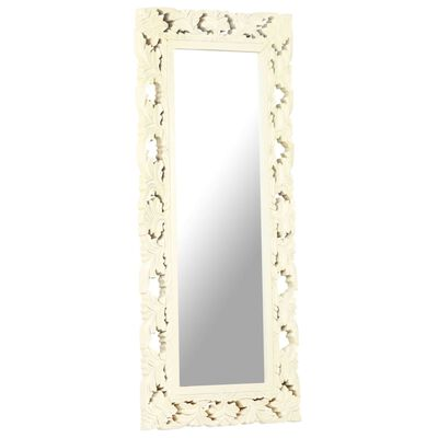 vidaXL Handsnidad spegel vit 110x50 cm massivt mangoträ
