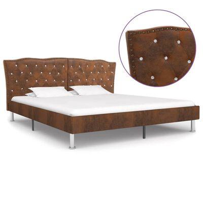 vidaXL Sängram brun konstmocka 180x200 cm