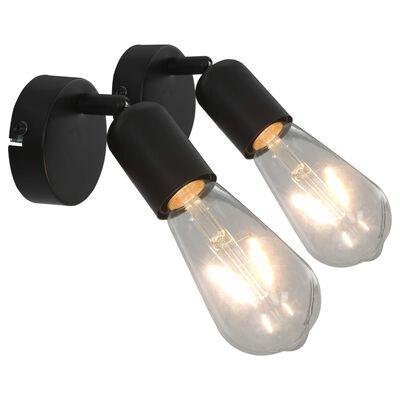 vidaXL Spotlights 2 st svart E27