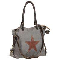 vidaXL Shoppingväska mörkgrå 41x63 cm kanvas och äkta läder