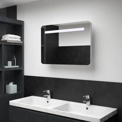 vidaXL Badrumsskåp med spegel LED 70x9,5x55 cm