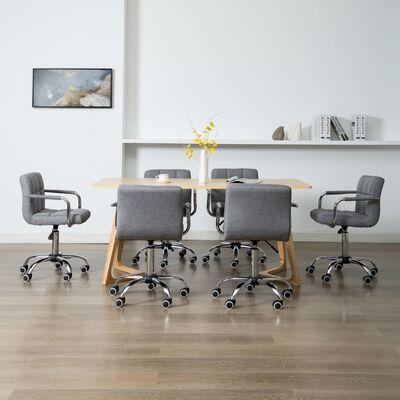 vidaXL Snurrbara matstolar 6 st ljusgrå tyg