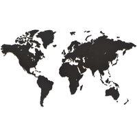 MiMi Innovations Väggdekoration världskarta trä Luxury svart 90x54 cm