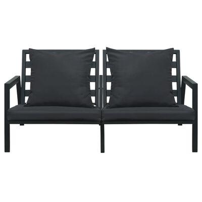 vidaXL Loungegrupp för trädgården med dynor 5 delar aluminium mörkgrå