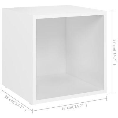 vidaXL TV-bänk 4 st vit 37x35x37 cm spånskiva