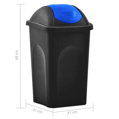 vidaXL Soptunna med svänglock 60L svart och blå