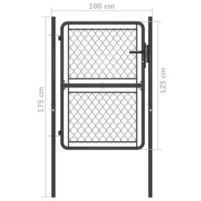 vidaXL Trädgårdsgrind stål 100x125 cm antracit